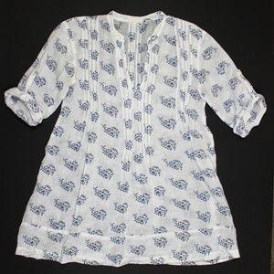 CP Shades Regina Linen V Neck Pintuck Tunic